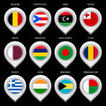 Map marker with flag set ninth this is file of eps format Stock Photos
