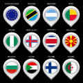 Map marker with flag set second this is file of eps format Stock Photos