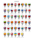 Map marker set with flags of Europa Royalty Free Stock Photo