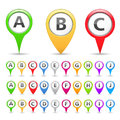 Map markers collection of with different symbols Royalty Free Stock Photo