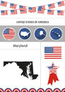 Map of Maryland. Set of flat design icons nfographics elements w