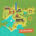Melbourne,Australia Map With Landmarks,sightseeing