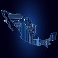 Map of Mexico with electronic circuit Royalty Free Stock Photo
