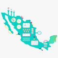 Map of Mexico machine Royalty Free Stock Photo