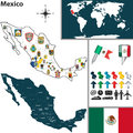 Map of mexico vector with regions with flags and location on world Royalty Free Stock Photos
