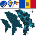 Map of moldova with named divisions vector and travel icons Stock Images