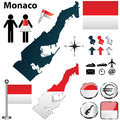 Map of monaco vector set with detailed country shape with region borders flags and icons Stock Image