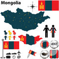 Map of mongolia vector set with detailed country shape with region borders flags and icons Stock Photo