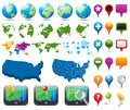 Map and Navigation Icons Stock Photography