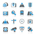 Map navigation and location icons vector icon set Stock Image