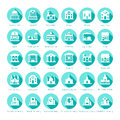 Map navigation vector iconset in flat style Royalty Free Stock Photo