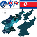 Map of north korea with administrative divisions vector and travel icons Stock Images