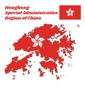 Map outline and flag of Hongkong, a stylised, white, five-petal Bauhinia blakeana flower in the centre of a red field.