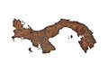 Map of Panama on rusty metal