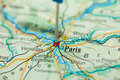 Map paris little flag Royalty Free Stock Image
