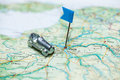 Map paris little flag car Royalty Free Stock Photos