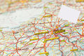 Map paris with white flag marker close up of mini add your own message Stock Images