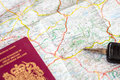 Map, passport and car keys Royalty Free Stock Photo