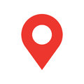 Picture : Map pin flat design style modern icon. Simple red pointer minimal vector symbol. Marker sign. mental warning leaf