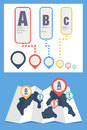 Map and pin icon infographics Stock Photography
