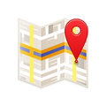 Map with pin icon of a and red guid Stock Photography