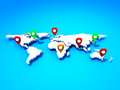 Map with Pin Pointers Royalty Free Stock Photo