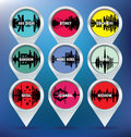 Map pins with Abu Dhabi, Sydney, Singapore, Bangko Stock Photo