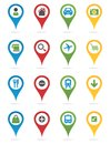 Map pins with icons different colored Stock Image