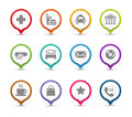 Map pins with icons points of interest different places Royalty Free Stock Image