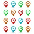 Map pins with Transport icons Royalty Free Stock Photo
