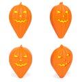 Map pointer as orange Halloween pumpkin set of creative markers
