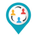 Map pointer with color teamwork for bussines in meeting