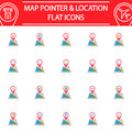 Map pointer flat icon set, gps and location