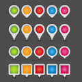 Map pointer set of colorful blank or icons on dark grey background Royalty Free Stock Photos