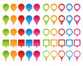 Map pointer set of colorful blank or icons isolated on white background Stock Image
