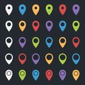 Set of map pointers, colorful pin icons, location markers