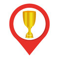 Map pointer with trophy cup