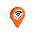Map Pointer with Wi-Fi symbol. Flat Isometric Icon or Logo.