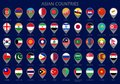 Map pointers with all flags of the Asian countries