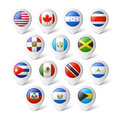 Map pointers with flags. North America. Royalty Free Stock Photo