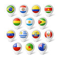 Map pointers with flags south america illustration Royalty Free Stock Photo
