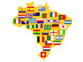 Map with qualified nations for tournament brazil flags of football Stock Photography
