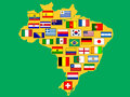 Map with qualified nations for tournament brazil flags of football Royalty Free Stock Images