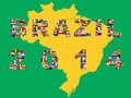 Map with qualified nations for tournament brazil flags of football Stock Photos