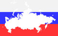 Map of Russia on the background of russian flag Royalty Free Stock Image