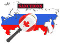 Map of Russia. Canada sanctions against Russia. Judge hammer Canada, flag and emblem. 3d illustration. Isolated on white backgroun