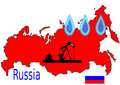 Map of Russian with Oil Symbol Royalty Free Stock Photography
