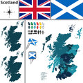 Map of Scotland with Subdivisions Royalty Free Stock Photo