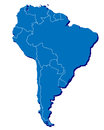 Map south america d effect country outlines too Royalty Free Stock Photo