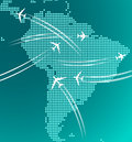 Map south america trace airplanes any travel industry design Stock Images